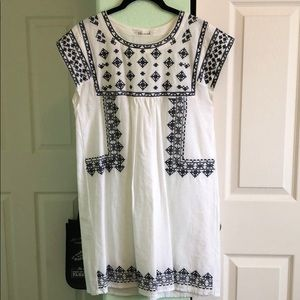 Chicwish White Embroidered Shift Dress